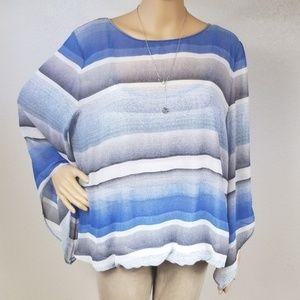 Alfani Blue striped flowy sleeve top H13